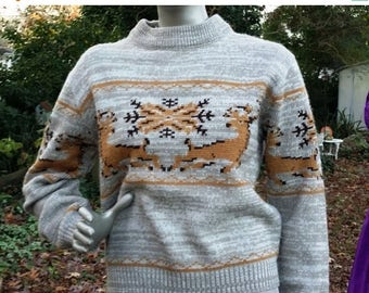 SALE 30% OFF Not So Ugly Christmas Sweater, Vintage Sweater, Vintage Ski Sweater, 70s Sweater, Vintage Graphic Sweater, Reindeer Sweater by