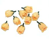 10 Yellow Peach Rose Buds - Artificial Flowers, Silk Flowers