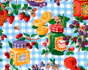 100 per cent  Cotton Fabric BTY 45 inch Fruit Jams and Jelly Jars  FREE SHIPPING