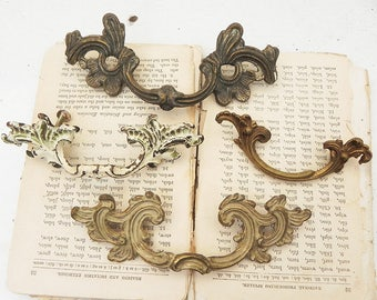 4 Ornate Drawer Dresser Cabinet Knobs Pulls Handles Vintage Hardware DIY Repurpose