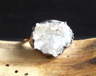 Druzy Crystal Quartz Ring Rough Stone Jewelry Copper Raw Stone Ring Midwest Alchemy Size 7 Ring