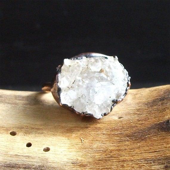 Druzy Crystal Quartz Ring Rough Stone Jewelry Copper Raw Stone