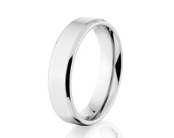 Cobalt Wedding Rings, Mens Cobalt Bands, Comfort Fit Ring: COB-5FT-B