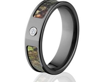 Black Zirconium Mossy Oak  bezel ring bezel engagement ring camo ring beze Official Mossy Oak Ring : 6F-BEZEL-OB