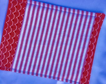 Snack Mat Red and White Stripe Ticking Fabric, Mug Rug Red and White