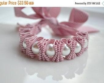 Chevron. Pearl Bracelet. Twillypop Charlie Ribbon Bracelet.Pearl Jewelry for Women. Womens Bracelets. Mauve. Gift Under 25