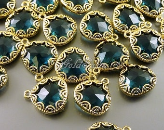 2 blue sapphire fancy lace rim framed glass pendants, jewelry making supplies, glass charms 5045G-BS
