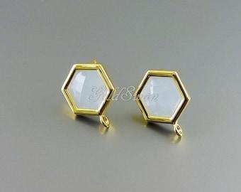 2 pcs / 1 pair of pale blue Alice blue honeycomb hexagon shape glass earrings, post earrings 5154G-ALB