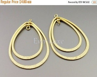 15% SALE 2 Large rotating double teardrop links, gold pendants, metal brass, wholesale jewelry supplies 1842-MG-LG (matte gold, Lg, 2 pieces