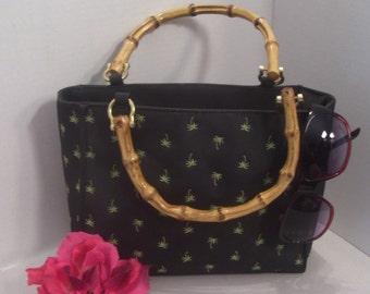 Vintage Swee Lo New York Designer Original, Evening Handbag, Tropical Palm Embroidery, Silk Fabric, Bamboo Handles, Gold Tone Metal, Retro