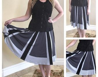 Grey Blue Black Panel Aline Silk Jersey Skirt