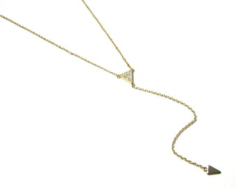 Triangle Y Necklace, CZ Triangle Long Y Lariat Necklace, Gold Vermeil