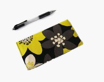 Black and Yellow Checkbook Cover - Coupon Holder - Floral Fabric Checkbook Holder - Purse Accessory Organizer
