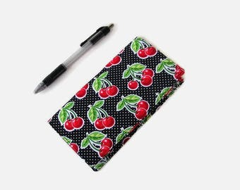 Checkbook Cover - Black and Red Cherry Print Coupon Holder - Fabric Checkbook Holder - Purse Accessory Organizer