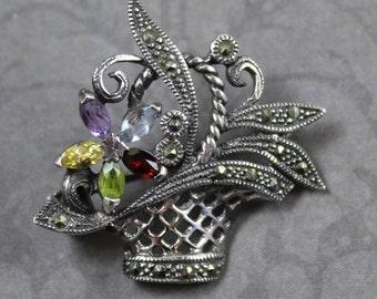 Vintage Sterling Silver Marcasite Filigree Giardinetti or Little Garden Flower Basket Brooch