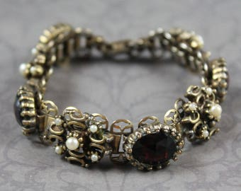 Vintage Victorian Style Book Chain Faux Pearl and Red Rhinestone Filigree Linked Bracelet
