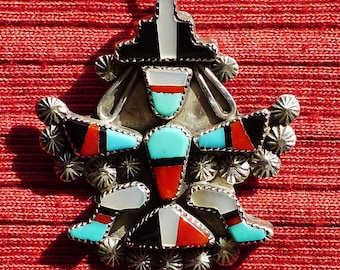 Southwest Sterling Silver Turquoise Multi-Stone Inlay Knifewing Pin / Pendant Necklace