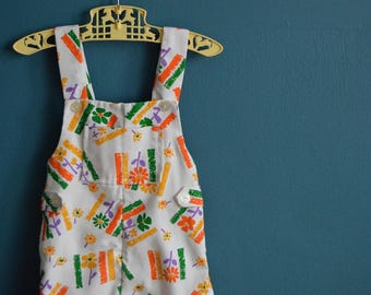 Vintage White Baby Overalls with Colorful Daisy Print - Size 18-24 Months