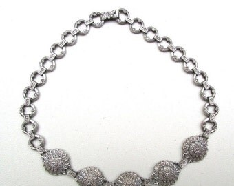 Holiday Christmas SALE Beautiful RARE Art Deco Ornate  Sterling Silver Marcasite Chocker Vintage Necklace Art Deco Jewelry
