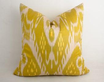 18x18 ikat pillow cover, yellow-green pillow, cushion cover, decorative pillow, ikats,