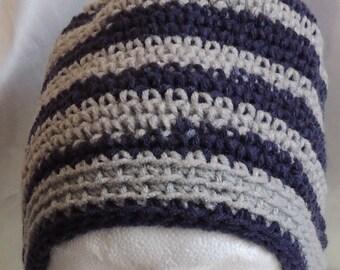Messy Bun/Ponytail Hat Unisex Navy & Grey Stripe Crochet Adult Size