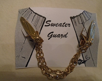 Sweater Clip  Gold Tone  Alligator clips Double Chains Scrolled and textured clips FREE ShIPPING