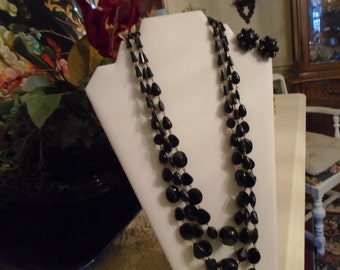 Multi faceted,Multi strand, Black Glass and Plastic Black Beads Necklace, Matching Clip Earrings FREE SSHIPPING