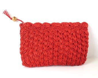 Vintage Red Crochet Clutch // Made in Japan