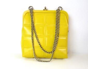 Vintage Yellow Chain Handbag with Confetti Print Lining