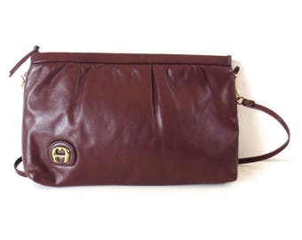 Vintage Etienne Aigner Oxblood Leather Clutch or Purse