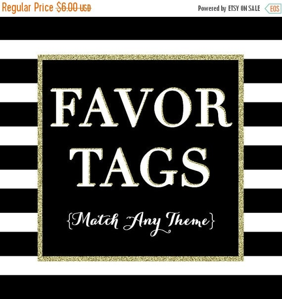 10% OFF SALE Matching Party Favor Tags - PRINTABLE Topper Design