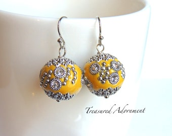 Mustard Earrings, Mustard Yellow Kashmiri Beads Earrings, Thank you gift, Holiday gift、Gift for Teacher, Holiday earrings, Xmas gift