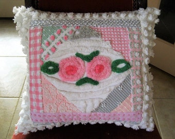 "Lollipop Roses Pink and Grey Collage Vintage Chenille Pillow - Insert included 19"" x 20"""