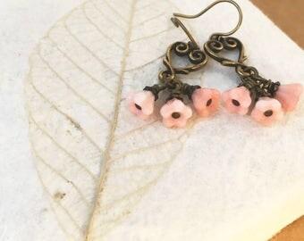 Flower Earrings Pink Heart Dangle Antiqued Brass