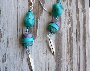 The Jayhawk Earrings. Turquoise Howlite Nuggets, Ceramic Discs & Silver Feather Charm Tribal Earrings