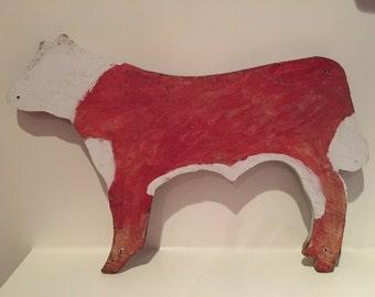 Large Painted Folk Art Cow
