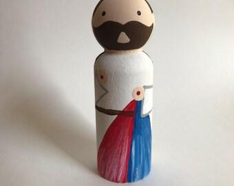 Jesus / Divine Mercy Jesus - Wooden Peg Doll