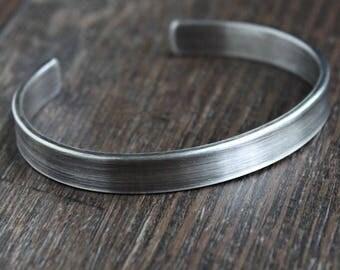 Mens Thick Silver Bracelet, Mens Cuff Bracelet, Sterling Silver Bangle