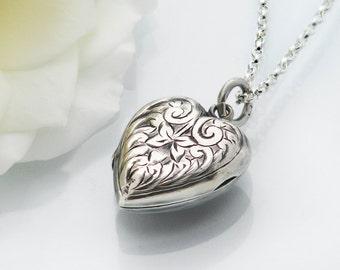 Antique Locket   1899 Victorian Sterling Silver Heart Locket   Valentine's Day   English Hallmarked Silver - 20 Inch Sterling Silver Chain