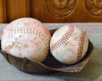 Old Baseball and Softball, Sports Memorabilia, Vintage Leather Baseball, Red Thread Stitching,Vintage leather baseballs,softball