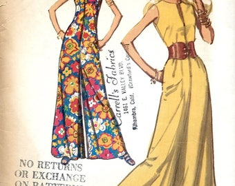1970's Sleeveless Jumpsuit with  Ankle Length Palazzo Legs , Summer Jumpsuit , 1970's Simplicity No.  9370 - Bust 34