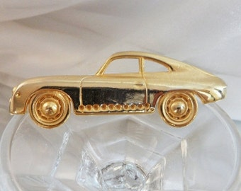 CHRISTMAS SALE Vintage Car Brooch. Large. Gold Tone Coupe.  Shiny Gold Car Pin.