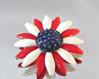 ON SALE Vintage Brooch Mod Flower Power Red White and Blue