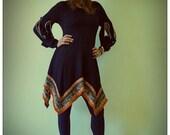 Upcycled Black Merino Wool Dress                  ReMade in England UK