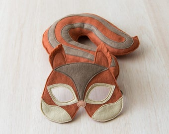 Kids Squirrel Mask and Tail, Squirrel Costume Eco Friendly Mardi Grass Dress up and Pretend Play Toy for Girls Boys and Toddlers