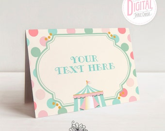 DIGITAL Pink Circus Table Cards- Circus Table Cards, Place Cards, Buffet Cards, Name Cards, Food Table Cards, PDF File with Editable Text