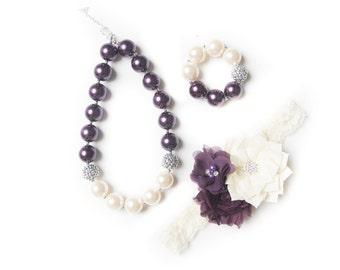 Plum necklace, purple bubblegum necklace, little girl necklace, chunky bead necklace, bubble gum necklace, toddler necklace, baby necklace