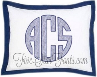 Circle Monogram Font Quick Stitch Machine Embroidery Monograms