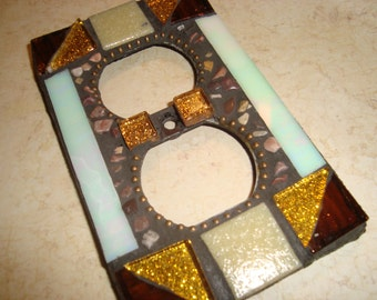 MOSAIC Electrical Outlet COVER , Wall Plate, Wall Art, Gold, Bronze, Iridescent Mother of Pearl