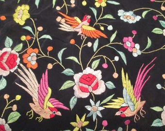 Beautiful Antique Embroidered Silk Piano Scarf Vintage Shawl Wrap